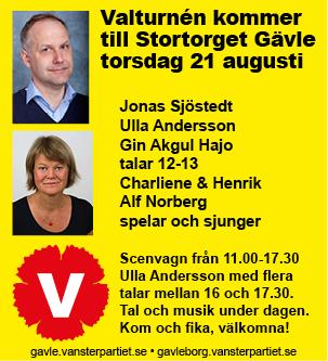 Gävle får besök av Vänsterpartiets valturné på torsdag. En hel dag med tal och musik.